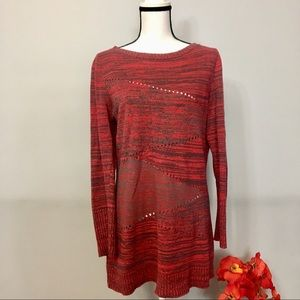 Armani Exchange red and gray cut out long sweater